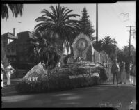 """Chivalry"" float at the Tournament of Roses Parade, Pasadena, 1936"