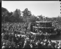 """Fountain of Youth"" float at the Tournament of Roses Parade, Pasadena, 1936"