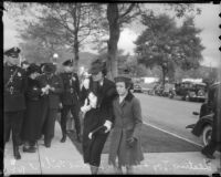 Actress Leatrice Joy and daughter Leatrice Gilbert at John Gilbert funeral, Beverly Hills, January 11, 1936