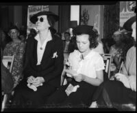 Irene Ryan and Leatrice Gilbert at John Gilbert's estate auction, Los Angeles, August 24, 1936