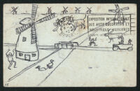 Postcard, with hand drawn image,  from Aldous Huxley to Matthew Huxley [descriptive]