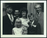 Aldous Huxley with Matthew, Treveven and Tessa Huxley, Judith Wallet Bordage Huxley and unidentified man [descriptive]