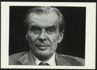 Aldous Huxley close up black background, looking forward (identical image) [descriptive]