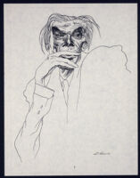 Aldous Huxley, caricature drawn by David Levine from New York Review of Books, 1971 [descriptive]