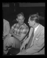 John True, state witness at the Monahan murder trial, with an attorney, Los Angeles, 1953