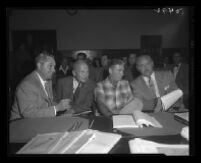 John True, state witness at the Monahan murder trial, with Dep. Dist. Atty. J. Miller Leavy and 2 other attorneys, Los Angeles, 1953