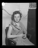 Donna Prow, witness in the Monahan murder trial, Los Angeles, 1953
