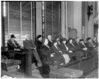 Jury for Los Angeles District Attorney Buron Fitts 1936 perjury trial, circa January 16, 1936.