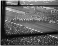 Horses race out of the gate on Derby Day at Santa Anita, February 22, 1937.