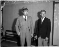 Accused murderer Fred Stettler and Det. Lt. Thad Brown in Los Angeles, 1936