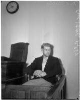Accused murderer Fred Stettler on the witness stand in Los Angeles, 1936