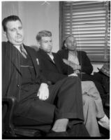 Accused murderer Fred Stettler sitting between two unidentified men in Los Angeles, 1936