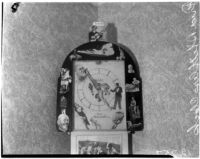 Bizarrely decorated clock which concealed money stolen by accused murderer Fred Stettler, Los Angeles, 1936