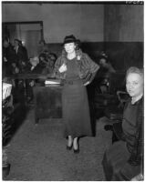 Mrs. Hazel Belford Glab appears in court to testify in her defense, in the murder trial of John I. Glab.  March 16, 1936
