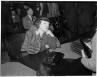Mrs. Hazel Bedlord Glab appears in court to testify in her defense, in the murder trial of John I. Glab.  March 16, 1936
