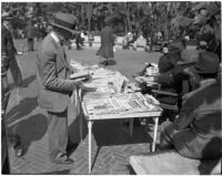 Open-air library in Pershing Square, downtown Los Angeles.  Circa 1937.
