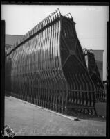 Line of car frames outside Studebaker's Los Angeles assembly plant, circa January 2, 1936.