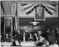 "Los Angeles' Young Democrats' Club holds annual ""Jackson Day"" fundraising dinner, with speaker Gov. Dave Sholtz of Florida, at the Ambassador Hotel.  January 8. 1936."