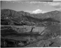 Flood basins above Altadena filled with rainwater.  Circa February 15, 1936.