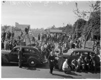 Crowd outside the home of Mrs. Anna Barnett, widow of Jackson Barnett, March 17, 1936.
