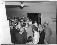Crowd gathered outside the trial of Albert Dyer, confessed murderer of three Inglewood girls, Los Angeles, August 1937