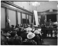 Scene from the Albert Dyer murder trial, Los Angeles, August 1937
