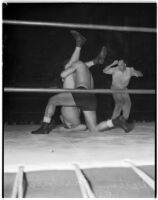 Wrestling match between Dean Detton and Gino Garibaldi at Olympic Auditorium, Los Angeles, August 18, 1937