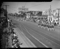 Drill team marching in the Admission Day parade, Santa Monica, September 9, 1937