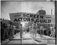 Members of the Screen Actors Guild marching in the Labor Day Parade, Los Angeles, September 6, 1937