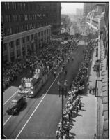 Aerial view of the Labor Day Parade, Los Angeles, September 6, 1937