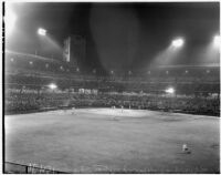 Nighttime baseball game at Wrigley Field in South Los Angeles