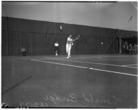 Champion tennis player Don Budge on the court, Los Angeles