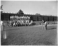 Team photo of the Loyola Marymount University football team, Los Angeles, 1937
