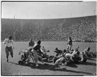 Football game with the USC Trojans and the Ohio State Buckeyes at the Coliseum, Los Angeles, October 9, 1937
