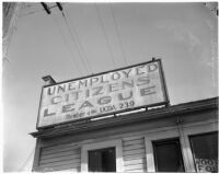 Sign for the Unemployed Citizens' League of Santa Monica, 1930s