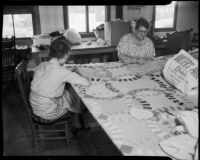 Women quilting at the Unemployed Citizens' League of Santa Monica, 1930s