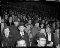 Crowd in Gilmore Stadium for a contest, Los Angeles, October 29, 1937
