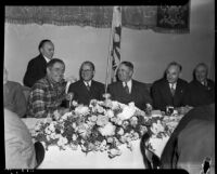 Leo Carrillo, A.L. Lathrop, Mayor Frank L. Shaw, and Paul G. Ritter at a breakfast given by the Women's Committee of the Philharmonic Orchestra, Los Angeles, October 14, 1935