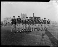 Los Angeles High School football team photo with the high school in the background, Los Angeles