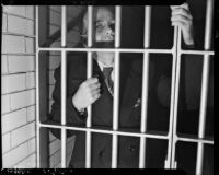 Robert Noble, self-proclaimed benefactor of the elderly, awaiting bail in County Jail, Los Angeles, November 3, 1937
