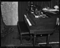 Piano in the home of Paul A. Wright, where Evelyn Wright and John B. Kimmel were sitting before they were fatally shot by Paul A. Wright, Glendale, November 10, 1937