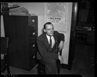 Grand jury member Clifford E. Clinton who is charged with contempt for withholding information about his sources in a vice and gambling investigation, Los Angeles, 1937