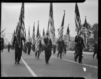 Massed colors in the Armistice Day Parade, Los Angeles, November 11, 1937