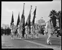 Hollywood Post of the American Legion marches in the Armistice Day Parade, Los Angeles, November 11, 1937
