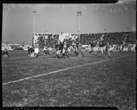 Football game between the Los Angeles Bulldogs and the Rochester Tigers at Gilmore Stadium, Los Angeles, November 14, 1937