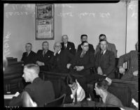 Coroner's jury at the inquest for Paul A. Wright, accused of the double murder of his wife and best friend, Los Angeles, November 12, 1937