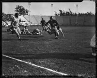 Fairfax vs. Marshall High School during a PTA benefit football tournament at the Coliseum, Los Angeles, November 24, 1937