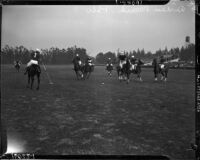 Polo match between the Mexican National Team, captained by Alberto Ramos Sesma, and the California All-Stars, captained by Eric Pedley, Alhambra, November 1937