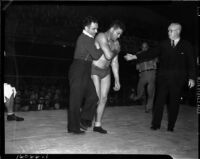 Wrestler Dean Detton during his match against Bronko Nagurski at Olympic Auditorium, Los Angeles, November 17, 1937