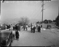 Spectators gather to see the landslide in Elysian Park, Los Angeles, November 1937